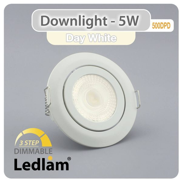Ledlam-Downlight-LED-5W-Tilt-500DPD-3-STEP-Dimmable-white-Variant-Day-White-