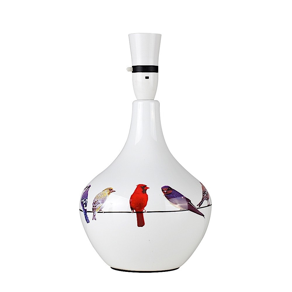 Birds On A Wire White Ceramic Table Lamp No Shade