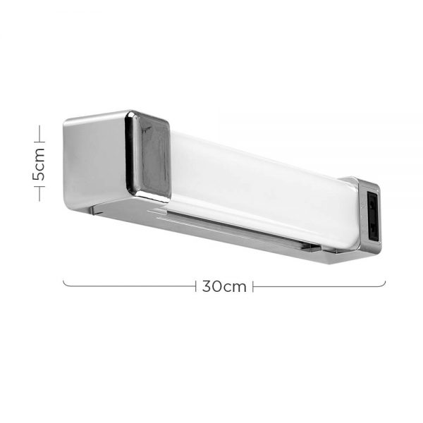 MiniSun-LED-Bathroom-Wall-Light-5W-with-Shaver-Socket-and-Pull-Switch-Modern-Silver-Chrome-Effect-20807-Dimensions