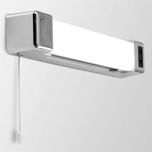 MiniSun-LED-Bathroom-Wall-Light-5W-with-Shaver-Socket-and-Pull-Switch-Modern-Silver-Chrome-Effect-20807-Other