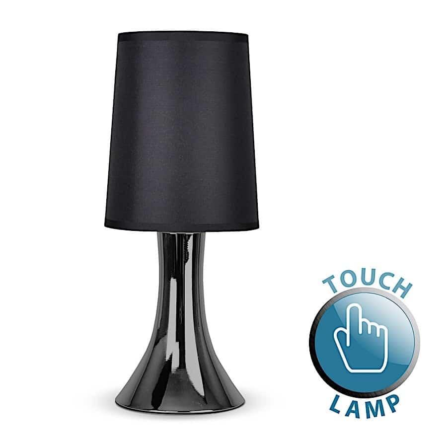 Trumpet Touch Table Lamp Black Chrome Black Ledlam
