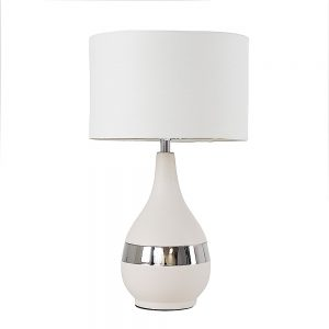 MiniSun-Vallda-Grey-Silver-Banded-Table-Lamp-with-White-Drum-Shade-24042-01