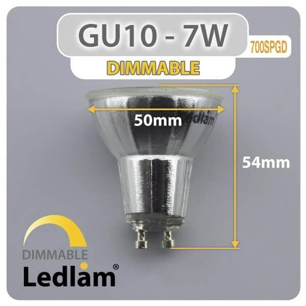 Ledlam-GU10-LED-Spot-Light-7W-700SPGD-dimmable-Dimensions