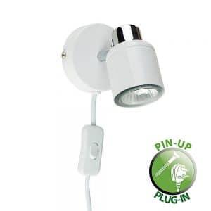 MiniSun-Benton-White-Chrome-Single-Spotlight-with-Cable-Plug-Switch-19874-01