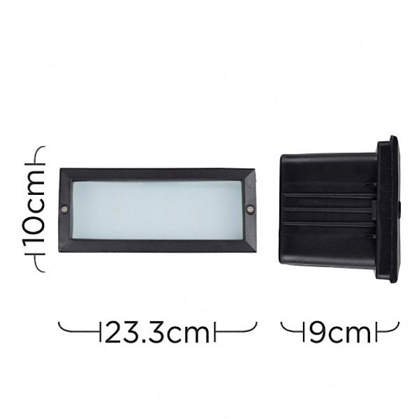 MiniSun-Modern-LED-Outdoor-Brick-Light-Aluminium-Frosted-Glass-Black-IP54-18721-Dimensions