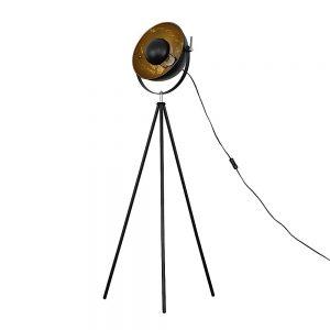 MiniSun-Morpho-Tripod-Floor-Lamp-Black-with-Gold-Inner-Shade-24098-01