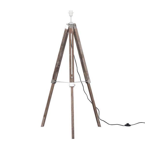 MiniSun-Clipper-Light-Wood-Chrome-Tripod-Floor-Lamp-Base-Only-23111-01