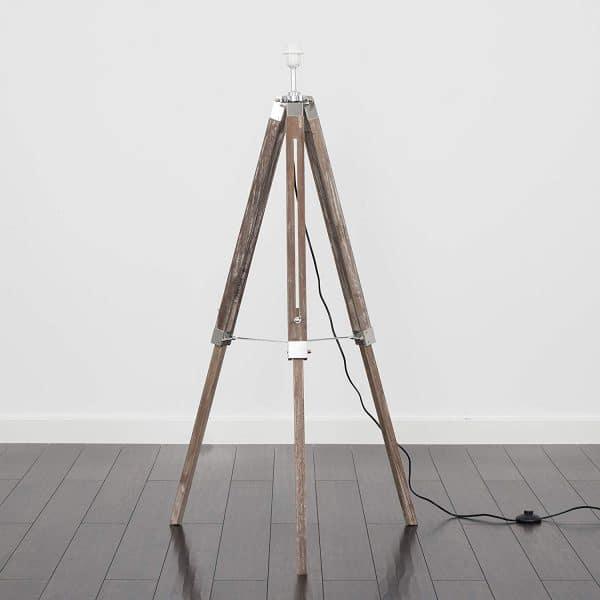MiniSun-Clipper-Light-Wood-Chrome-Tripod-Floor-Lamp-Base-Only-23111-02