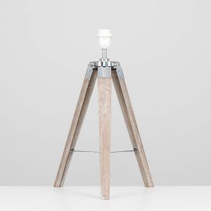 MiniSun-Clipper-Light-Wood-Chrome-Tripod-Table-Lamp-Base-Only-23108-01