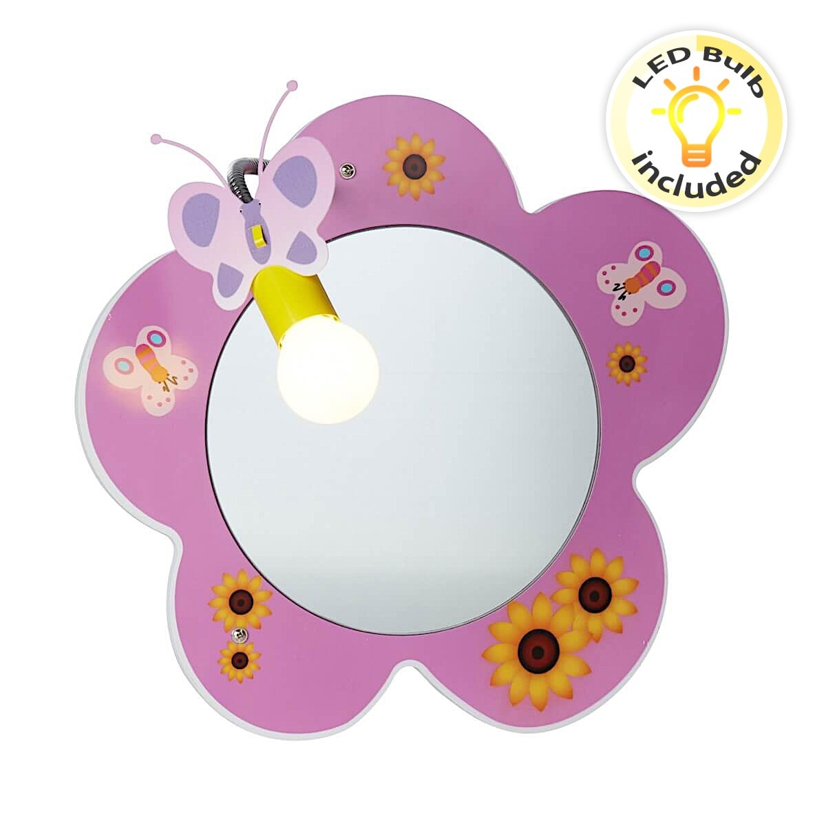 Novelty Childrens Flower Mirror Wall