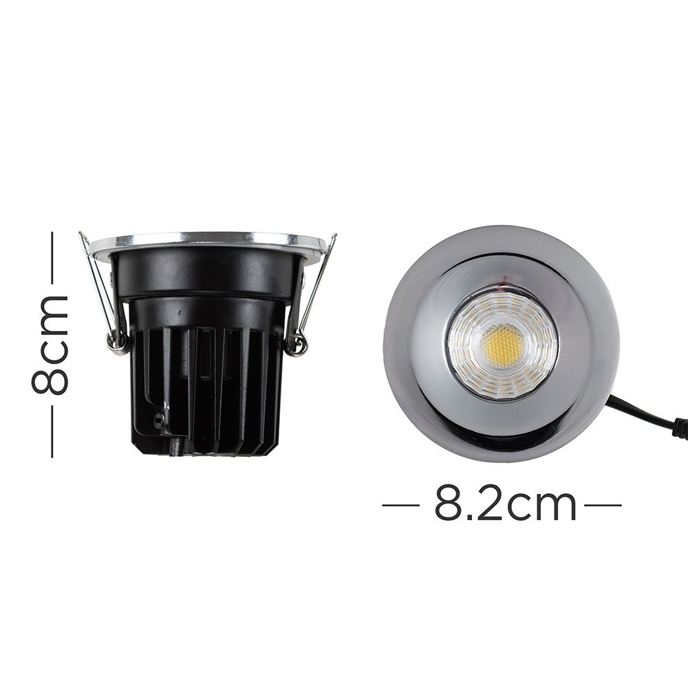 8w Led Fire Rated Downlight In Chrome With Switchable Colour Temperatures Ip65 Dimmable